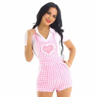 dPois Women's Gingham Print Shoulder Straps Back Criss-Cross Cute Babydoll Short Overalls Boxer Knickers Pink Small