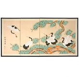 Oriental Furniture Asian Art and Decor 36 by 72-Inch Homeward Bound Hand Painted Chinese Silk Wall Screen