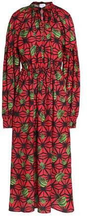 Stella Jean Gathered Printed Crepe Midi Dress