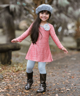 Coral & Gray A-Line Tunic & Leggings - Girls