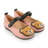 Moschino MoschinoGirls Pink Leather Teddy Ballerinas