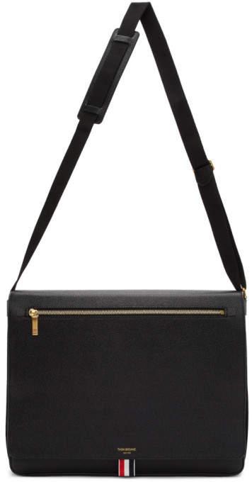 Thom Browne Black Slim Messenger Bag