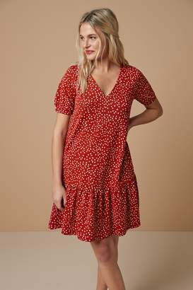 Next Womens Red Spot Tiered Dress - Red