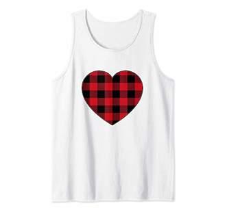 Buffalo David Bitton Cute Lumberjack Plaid Valentines Day Heart Women Tank Top