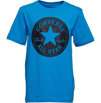 Converse Junior Boys Chuck Taylor Script Short Sleeve T-Shirt Blue Hero