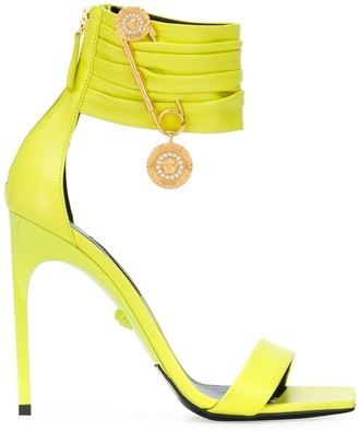 Versace Safety Pin detail square toe sandals