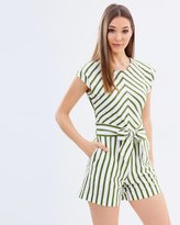 Warehouse Stripe Belted Playsuit
