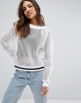 Reebok Mesh Sweatshirt With Stripe Tipping