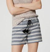 "LOFT Petite Stripe Tasseled Riviera Shorts with 3 1/2"" Inseam"
