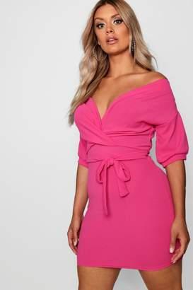 boohoo Plus Off Shoulder Tie Dress