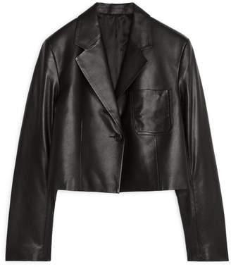 Arket Cropped Leather Blazer