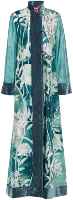 F.R.S For Restless Sleepers Euribia Velvet-trimmed Floral-print Silk-twill Maxi Dress
