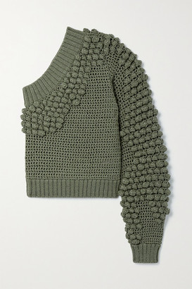 Helmut Lang Pompom-embellished One-sleeve Knitted Sweater - Army green