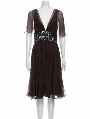 J. Mendel Silk Knee-Length Dress Brown