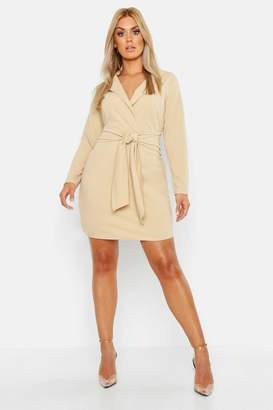boohoo Plus Belted Shirt Dress
