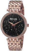 SO&CO New York Women's 5080.4 SoHo Quartz Black Crystal Filled Dial 16K Rose Tone Stainless Steel Link Bracelet Watch