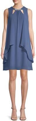 Ignite Evening Embellished Sleeveless Shift Dress