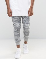 Pull&bear Skinny Fit Camo Joggers In Grey