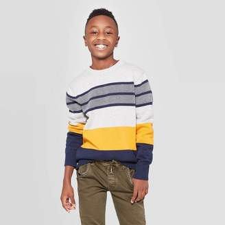 Cat & Jack Boys' Long Sleeve Pullover Sweater Yellow / White