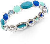 Nine West Silver-Tone Blue Stone Stretch Bracelet