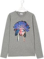 Marcelo Burlon County Of Milan Kids Teen wolf in headdress print top
