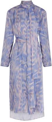 BOSS Printed Satin Twill Midi Dress