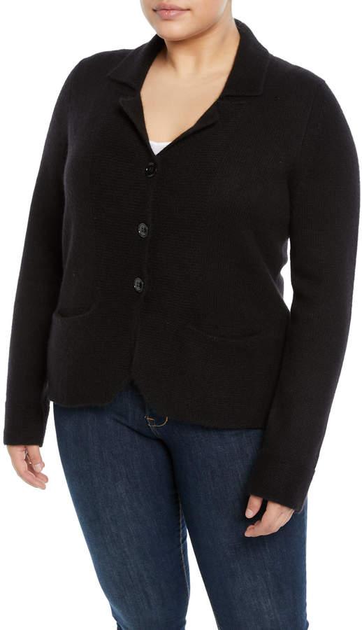 Cashmere Blazer-Cardigan- Black - Plus Size