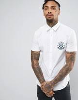 Love Moschino Shirt With Peace Logo In Slim Fit