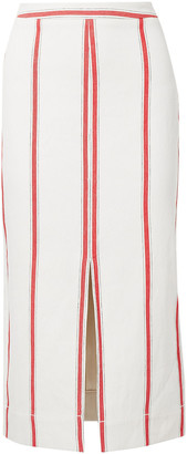 Bassike Split-front Striped Cotton-twill Midi Skirt