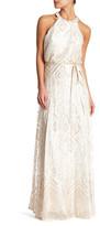 Marina High Neck Ribbon Sash Long Dress