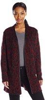Anne Klein Women's Leather Trim Leopard Sweater Cardigan
