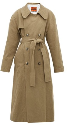 BEIGE Colville - Oversized Crushed Cotton-gabardine Trench Coat - Womens