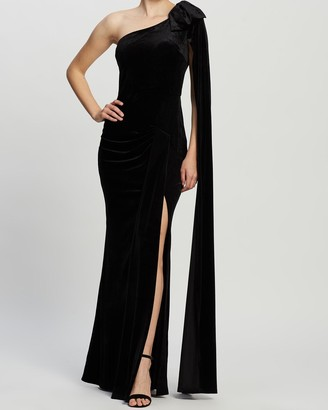 Bariano Celestine One-Shoulder Cape Gown
