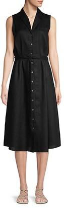 Saks Fifth Avenue Belted Linen Shirtdress