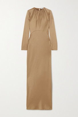 Georgia Alice Elonge Gathered Satin Maxi Dress - Beige