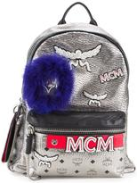 MCM logo print metallic backpack