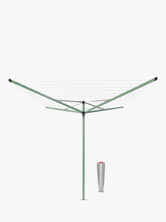 Brabantia Topspinner Rotary Clothes Outdoor Airer Washing Line with Ground Spike, 50m, Leaf Green