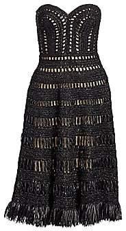 Oscar de la Renta Women's Strapless Woven Cocktail Dress - Size 0