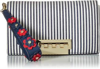 ZAC Zac Posen Earthette Clutch-Striped w/Floral Applique on Wristlet