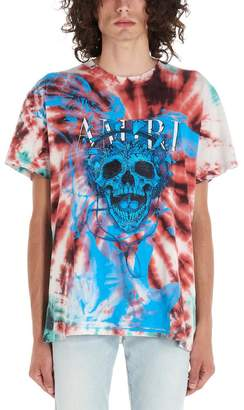 Amiri Logo Skull Print Tie Dye T-Shirt