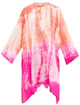 Juliet Dunn Embroidered Tie-dye Silk Kaftan - Womens - Pink Multi