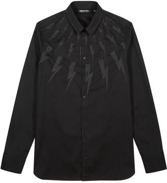 Neil Barrett Black lightning-embroidered cotton shirt