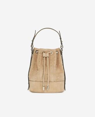 The Kooples Studded Medium Tina bag in beige suede