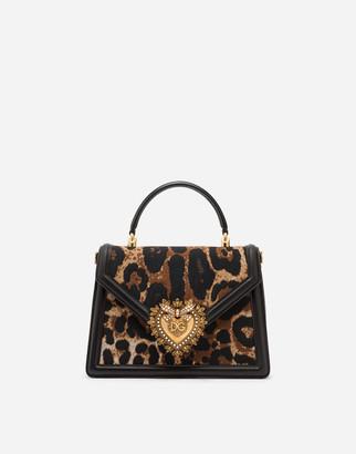 Dolce & Gabbana Medium Devotion Bag In Leopard-Print Jacquard