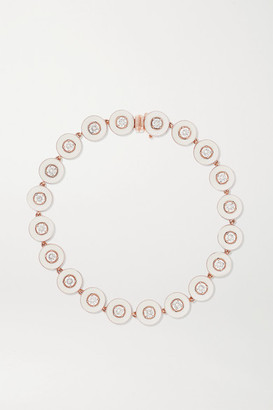 Selim Mouzannar 18-karat Rose Gold, Enamel And Diamond Bracelet - one size
