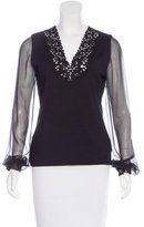 Akris Lace-Trimmed Long Sleeve Top