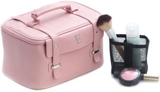 Bey-Berk Pink Leatherette Travel Makeup Case
