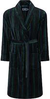 John Lewis Stripe Fleece Robe, Blue/Green