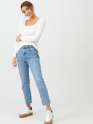 Very The Essential Square Neck Long Sleeve Rib Top - White