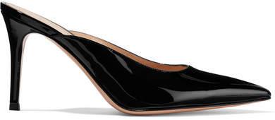 Gianvito Rossi 85 Patent-leather Mules - Black